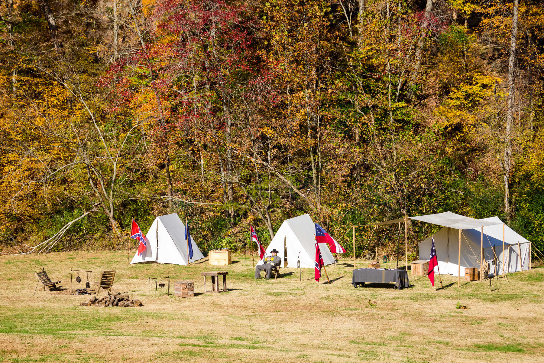 Old camp site reenactment of the civil war.