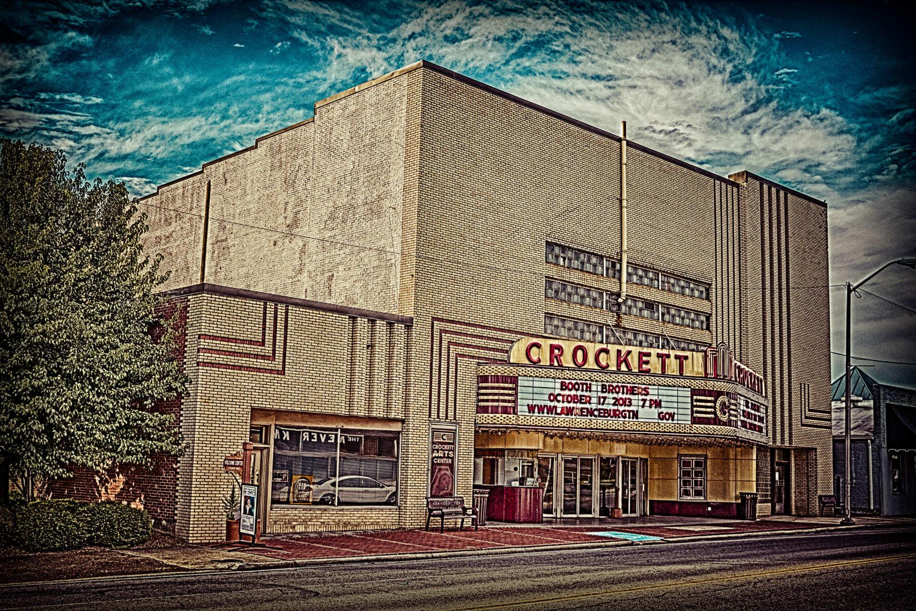 The brick building of crockett theater in lawrenceburg tn.