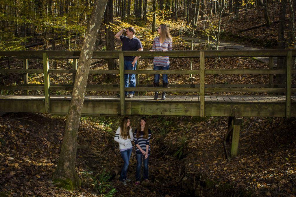 Girls hiding under trail bridge in david crockett park.