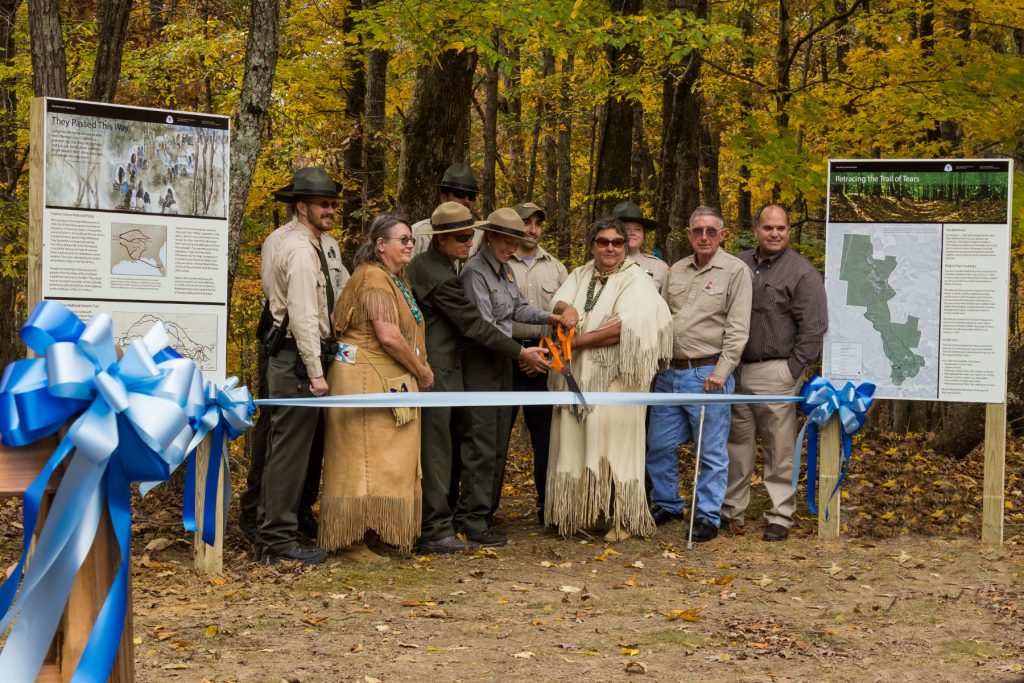 Ribbon cutting at the trail of tears in david crockett park.