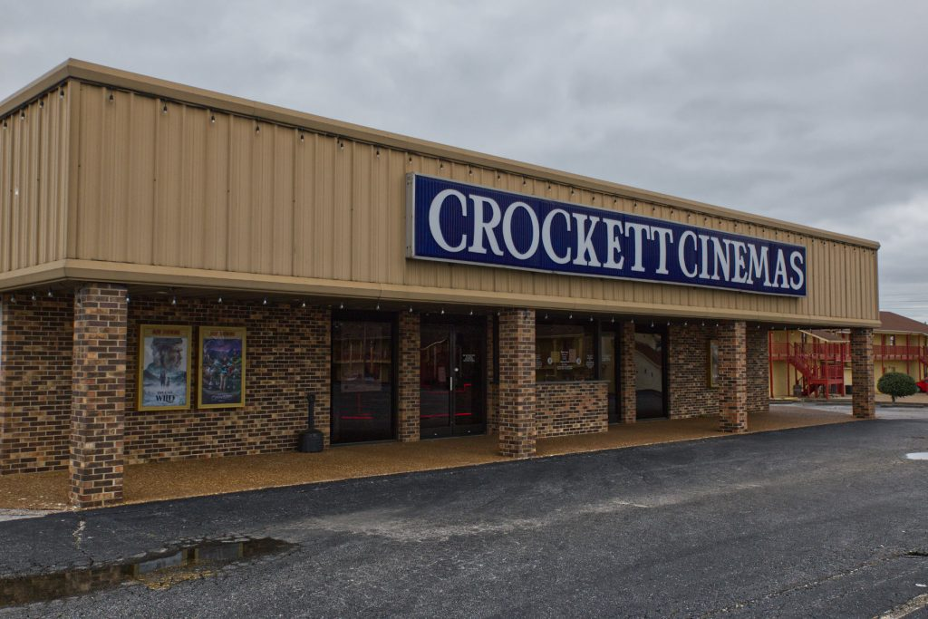 Square front building of the crockett cinema.