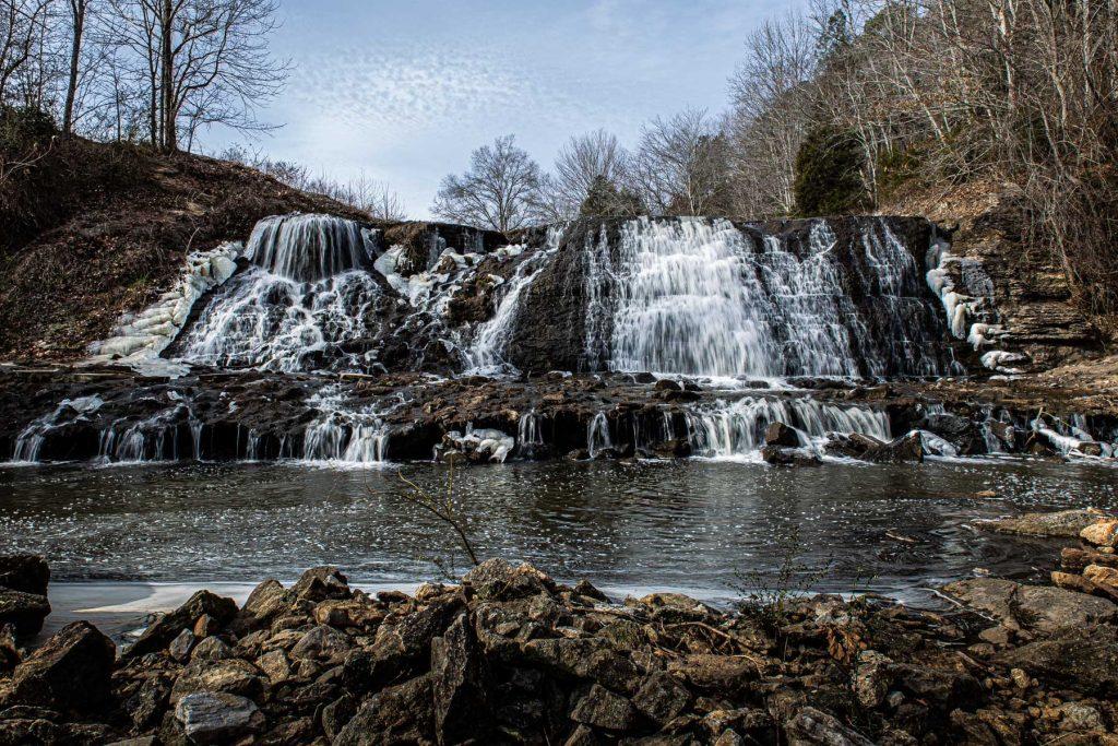 Waterfall in david crockett park.