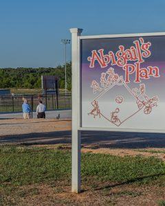 The sign at Abigail's plan field.