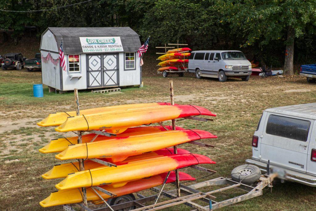 kayaks on the trucks at upa creek in iron city tn.